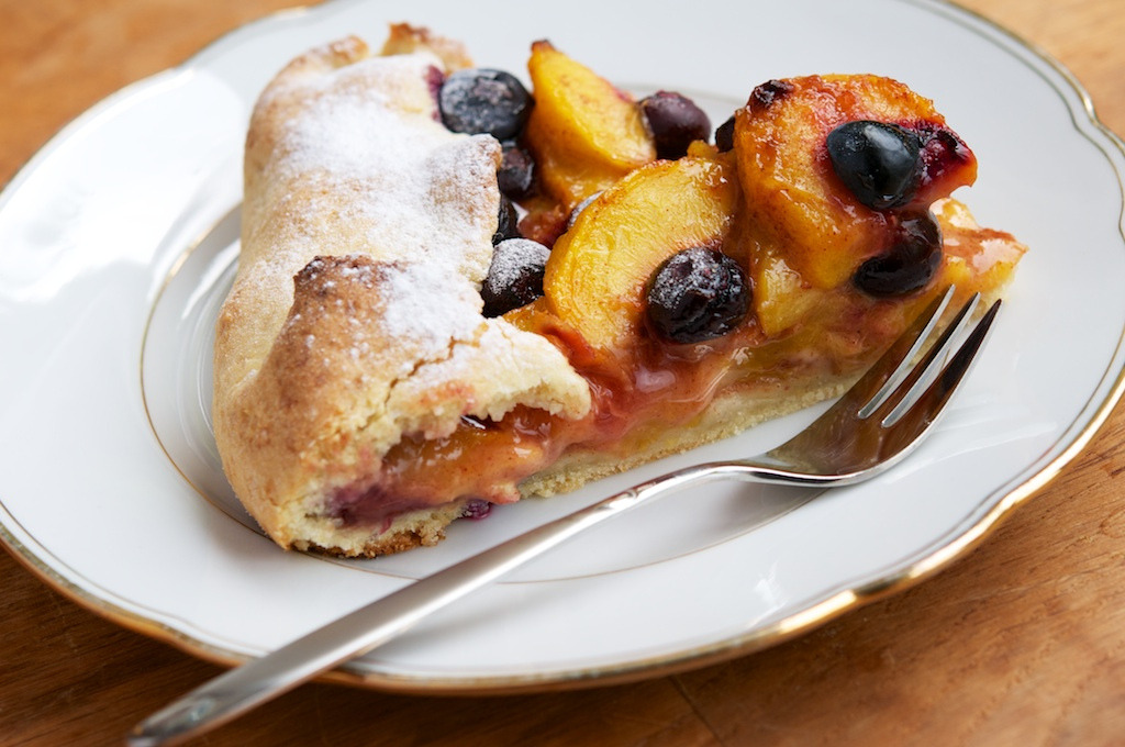 Rustic Peach and Blueberry Galette with Almond Crust (by harald walker)