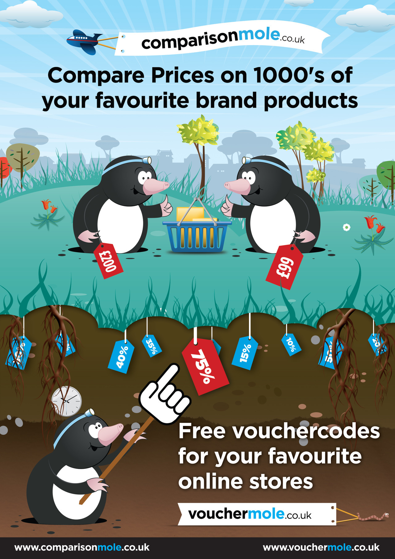 Voucher Websites Illustration for an advert.