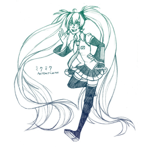 DA / Pixiv / Anipan Another Miku Miku sketch from school. Not too different from the last one other than the face, Miku's just what I default to when I'm unsure what to draw. I like how this came out though, so I uploaded it everywhere.
