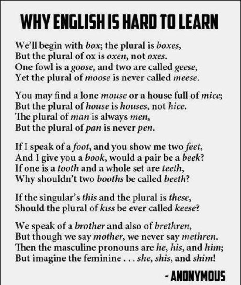 ESL students!  Is learning the English language a challenge for you?  What are the easiest and the most difficult parts?