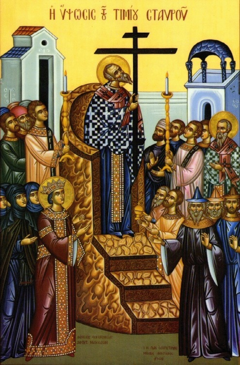 "Today, the Orthodox Church commemorates the Universal Elevation of the Venerable and Life-Creating Cross of the Lord! We commemorate the finding of the Cross by the Empress Helen (the mother of St. Constantine the Great) on Golgotha in 326 AD, the place where Christ was crucified. On the spot where the Cross was discovered, St. Helen had found a hitherto unknown flower of rare beauty and fragrance, which has been named ""Vasiliko"", or Basil, meaning the flower of royalty. Note that the word ""Vasiliko"" means ""of the King,"" since the word ""Basileus"" in Greek means ""King""; so, the plant Vasiliko, Basil, is tied to the Precious Cross of the King of Glory, our Lord Jesus Christ. Underneath the Basil, the Cross of Christ was found, but with it were the other two crosses, those used to crucify the two thieves on either side of Christ. The sign with the inscription, ""Jesus of Nazareth, the King of the Jews"", also lay among the three crosses. In order to determine which one was the true cross, a sick woman was told to kiss each of the three crosses. The woman kissed the first cross with no result. She kissed the second cross and again nothing happened. However, when the ailing woman kissed the True Cross, she was immediately made well. It so happened that a funeral procession was passing that way, and so the body of the dead man was placed on each of the crosses, and when it was placed on the True Cross, the dead man came to life — thus the name the ""Life-Giving"" Cross, which gives life not only to that man, but to each person who believes in the sacrifice of Christ on the Cross and His all-glorious three day Resurrection. When the true Cross was identified, it was lifted on high for all the people to see, who then continually sang Kyrie eleison, a practice which is still enacted at current celebrations of this feast."