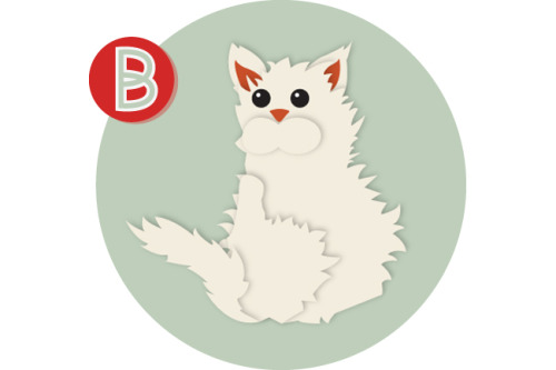 The second letter in the Cat-phabet is B.