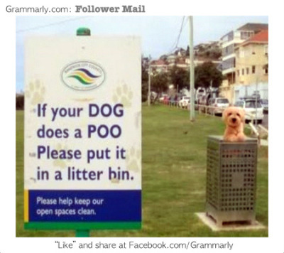 grammarlyblog:  Poor pup! This sign is confusing. How would you rewrite it to make it clearer?  Throwing away a perfectly good dog… the shame!