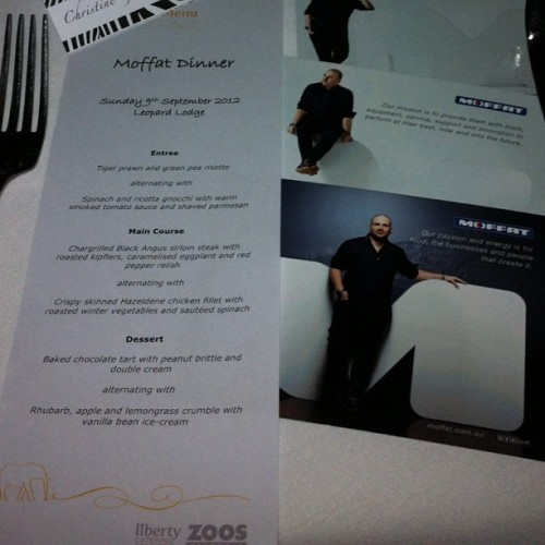 Dinner menu at the #Melbourne Zoo could feed a hungry hippo. Shameless promo with #Chef @GeorgeCalombaris by our mates @Moffat_Au #LuvYaWork. Grrrr (Taken with Instagram)