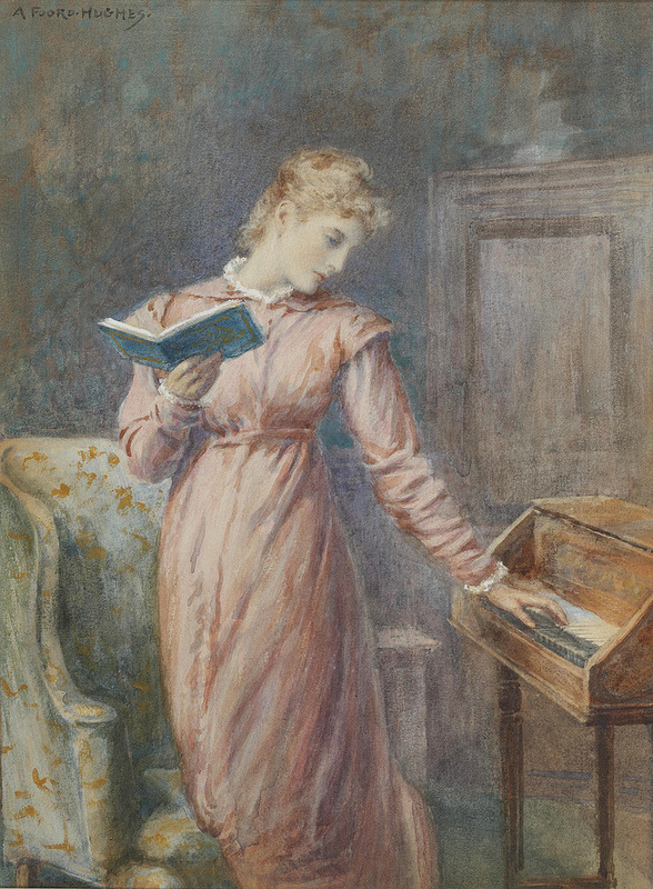 in-the-middle-of-a-daydream:  Arthur Foord Hughes - A lady reading while playing the spinet