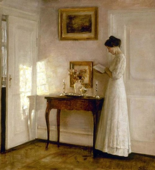 enchants:  Lady in an interior, Carl Vilhelm Holsøe.