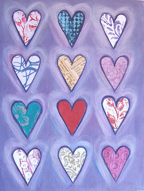 12 Hearts on Lavender - Original MIxed Media Painting  by art angel 1 on Flickr.