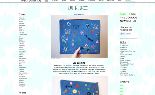 Many thanks to Madeline @obsessee for writing about my embroidered clutches on the Urban Outfitters blog!!!  The two shown have sold thanks to her!  I'm going to try to bust out more soon!!