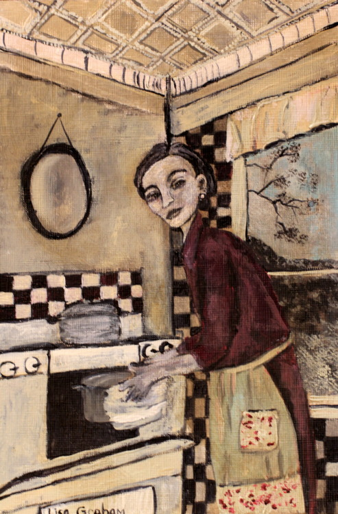 Sara in the Kitchen by Lisa Graham http://lisagrahamart.blogspot.com/ acrylic and ink on canvas paper