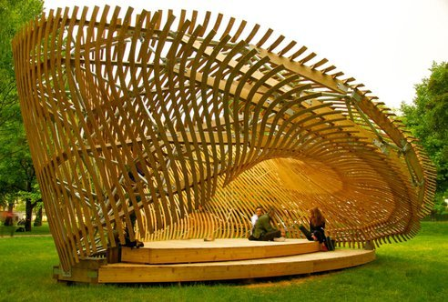 © Maria Mingallon This mind-bending pavilion was created by architecture students at Montreal's McGill University — a winning design from a school competition, in collaboration F.A.R.M.M. (Facility for Architectural Research and Media Mediation. via Students Create Mind-Bending Wooden Parametric Pavilion (Video)