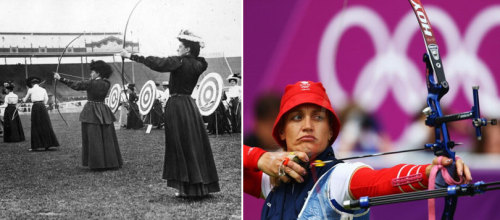 olympicfashion:  Archery London 1908 - Archery London 2012   Archery makes looking frumpy look cool.