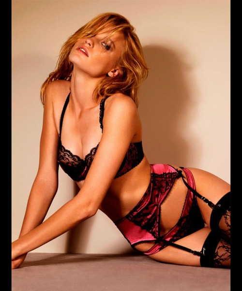 lavinialingerie:  Pink Satin & Black #Lace #Lingerie - Semi Sheer #Bra & Garter Belt Panties Set