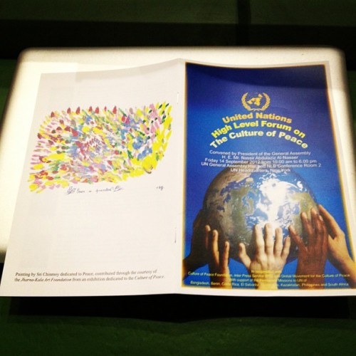 Program for High Level Forum on The Culture of Peace featuring Peace artwork by Sri Chinmoy (Taken with Instagram at United Nations Headquarters)