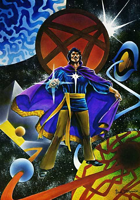 seanhowe:  Frank Brunner's concept art for the 1978 Doctor Strange movie. You can see a glimpse of the finished product here:http://seanhowe.tumblr.com/post/29913592784/peter-hooten-and-jessica-walter-in-dr-strange Or, if you're feeling adventurous:http://www.youtube.com/watch?feature=player_embedded&v=t1ZKgGRS8WE   Doctor Strange