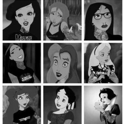 the80swerefun:  Good morning … Presenting #Disney girls gone hardcore … by newretrowave http://instagr.am/p/Pjzme2mC8E/  Missed opportunity. Alice's T-shirt could have been: Alice Cooper, Alice In Chains…