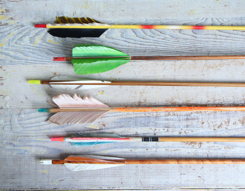surplus-mag:  Vintage Wooden Arrows These cool hand painted arrows feature real feathers and blunt metal tips. Hawkeye, Robin Hood, Legolas and the editors here at Surplus all certify the craftsmanship.