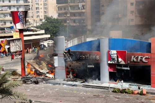 Embassies stormed, KFC torched as anger over anti-Islam film rages (Photo: Omar Ibrahim/Reuters) Updated at 11:07 a.m. ET: Protesters in a number of countries across the Muslim world vented anger against the West on Friday as the controversy over an anti-Islamic film raged, with a KFC restaurant torched in Lebanon, violent attacks on U.S. embassies in Sudan and Tunis and fierce protests in Egypt, Jordan and Pakistan. Read the complete story.