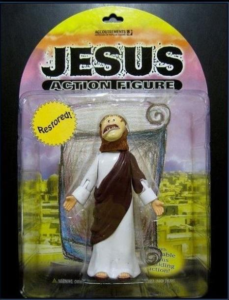 "thesochillnetwork:  Introducing the ""Restored"" Jesus Action Figure"