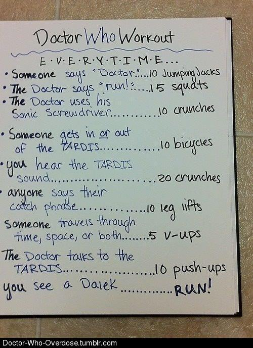 the-blind-banditt:   My friend found the doctor who workout  HA!