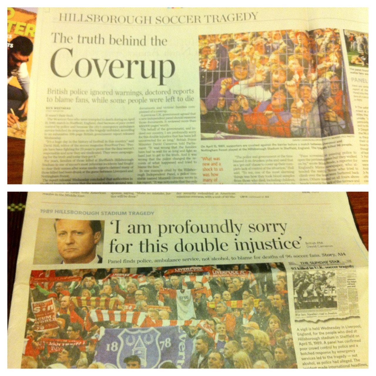 Hillsborough coverage in Thursday's Toronto Star