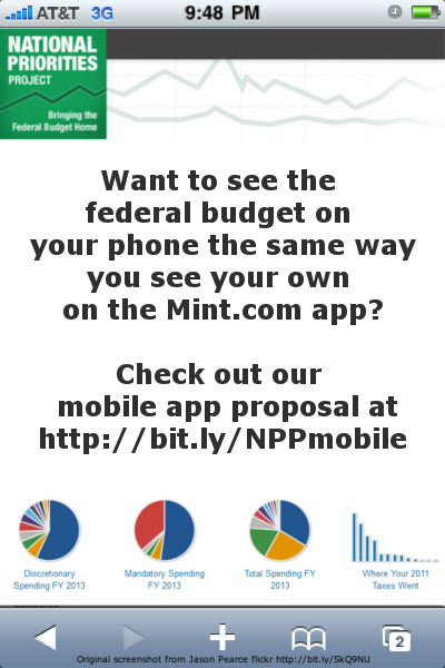 We love Mint.com for our own budgets, and we think one for the federal budget would be super useful too! Check it out here: http://newschallenge.tumblr.com/post/31273502685/backyard-budget-mobile-mint-com-for-the-federal-budget