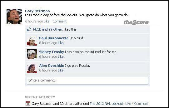 NHL commissioner Gary Bettman updated his Facebook status this morning.