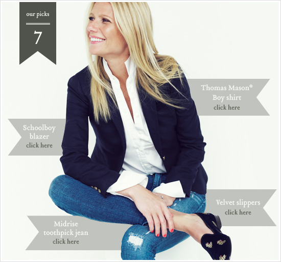celebinspire:  Gwyneth Paltrow  A little fall fashion inspiration from G. Paltrow: blazer, button down, shoes, HOTNESS.