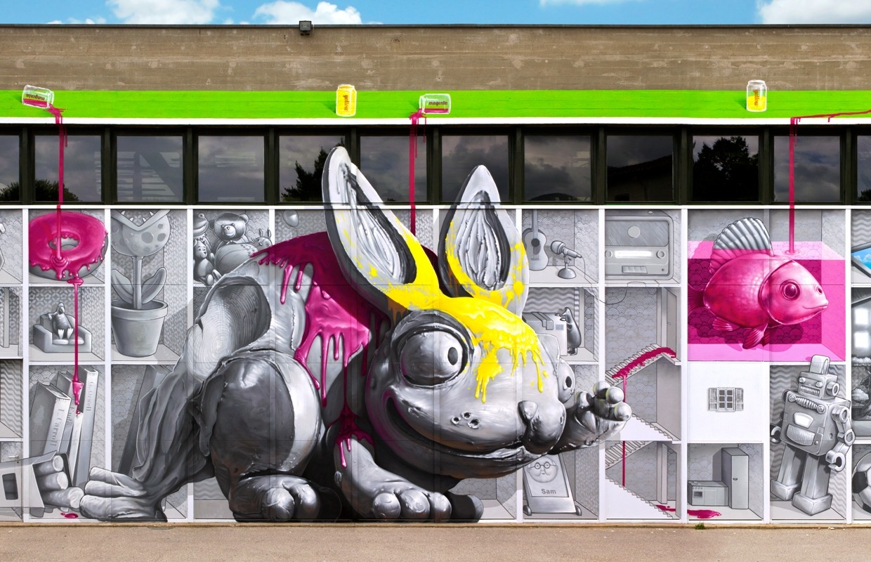 Switzerland's NEVERCREW made a lot of children's lives more colourful, painting an elementary school playground beautifully! This is a stunning detail of a large mural. You can like their page, see the full wall and send them flowers here: www.facebook.com/NEVERCREWpage