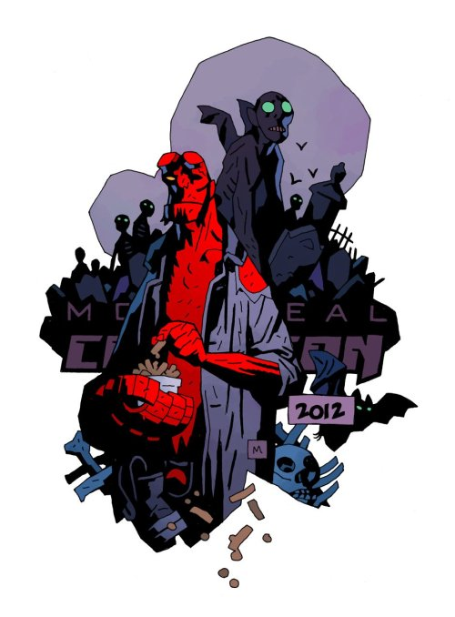 sinvraal:  Hellboy's intro to the joy that is poutine. Logo and t-shirt design for the Montreal Comiccon by Mike Mignola!