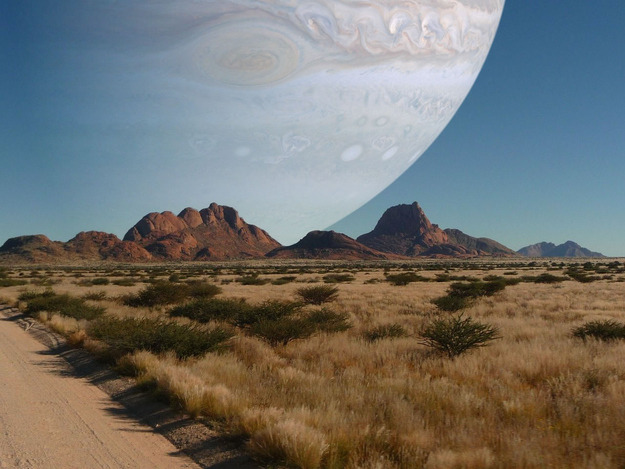 parislemon:  buzzfeed:  This is what it would look like if Jupiter was as close to Earth as the moon is.  I don't know why this terrifies me, but it does. Maybe because of Melancholia.  Would be cool for a while I think.