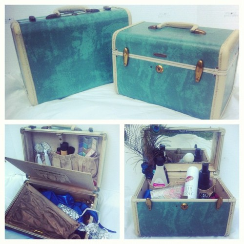 Burlesque Box set: Vintage lingerie case & traincase. Coming today in the RealTimeTravlbags etsy shop! #vintage #luggage #traincase #lingerie #set #etsy #travel  (Taken with Instagram)