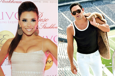 "actress Eva Longoria confirmed to Mario Lopez on his EXTRA broadcast at The Grove that she is dating New York Jets quarterback Mark Sanchez: ""Mark &I are, you know, fine. We're happy just dating."""