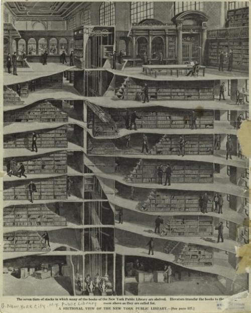 theparisreview:  explore-blog:  The seven tiers of stacks at New York Public Library, 1907.  A sectional view.