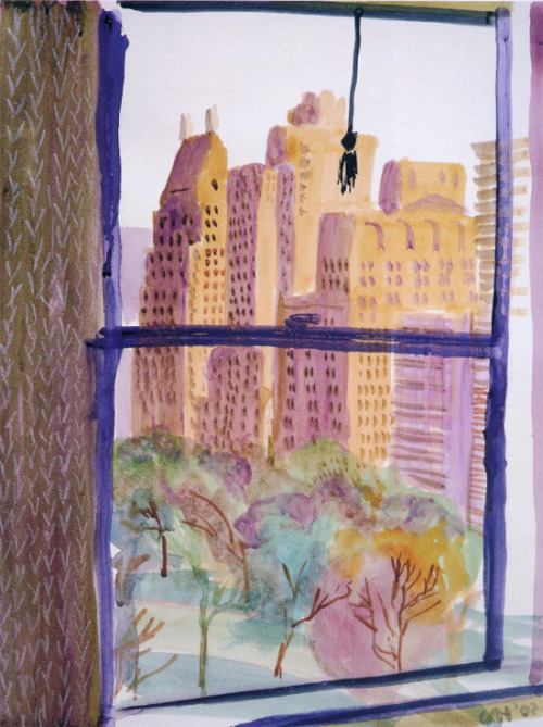 acidadebranca: fuckyeahdavidhockney: View from Mayflower Hotel, New York (Evening) 2002 Color Illustrations | David Hockney | 1336