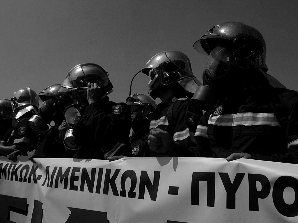 Greek fire fighters protest  http://flic.kr/p/daD4LM by Teacher Dude's BBQ