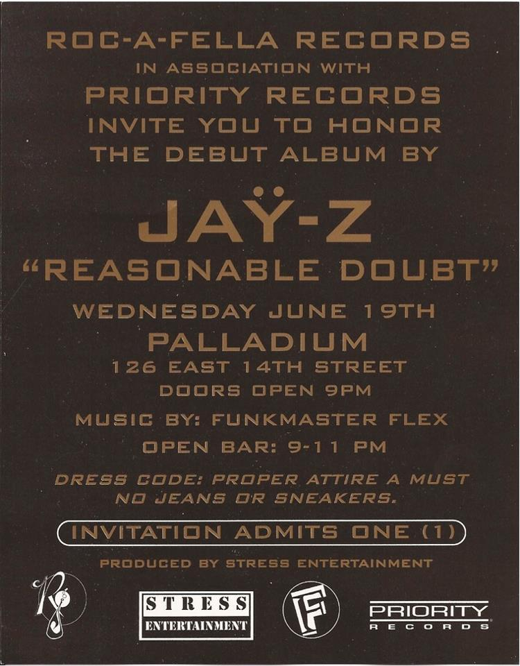 Reasonable Doubt Release Party - Palladium, NYC (6/19/96)