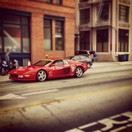 Cops stop morning rush hour traffic in SF for random Ferrari parade.  (Taken with Instagram)