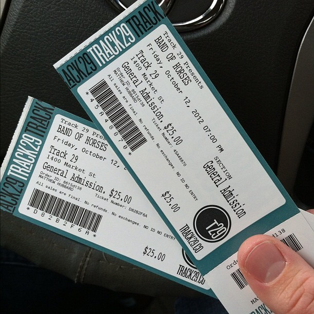 Just picked up tickets to see Band of Horses! (Taken with Instagram at Track 29)