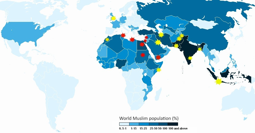 "An Annotated Map of Today's Protests and of the 'Muslim World'  Protests against the anti-Islam film Innocence of Muslims have erupted in cities from Morocco to Somalia and Pakistan to Indonesia, an agglomeration of otherwise disparate societies that we sometimes refer to as ""the Muslim world."" That phrase appears today in headlines at, for example, CBS News, the U.K. Telegraph, Radio Free Europe, and many others. […] But, looking into the severity and frequency of the protests, their occurrence doesn't seem to correlate as directly with the presence of Muslims as the phrase ""protests erupt across the Muslim world"" might lead you to believe. Even if that's generally true, we might learn a bit more by looking also at who is protesting violently and who isn't. In a map above, I've charted the violent protests in red and the protests that did not produce violence in yellow. It's an imperfect distinction; I've counted the stone-throwers in Jerusalem as a violent protest but the flag-burners in Lahore as non-violent. But it gives you a somewhat more nuanced view into who is expressing anger and how they're doing it than to just say that the ""Muslim world"" is protesting. To help show what ""Muslim world"" means, I've used a map (via Wikimedia) that shows countries by their share of the world Muslim population. The darker blue a country, the more Muslim individuals live there.  Read more. [Image: Wikimedia/The Atlantic]"