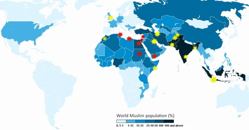 "theatlantic:  An Annotated Map of Today's Protests and of the 'Muslim World'  Protests against the anti-Islam film Innocence of Muslims have erupted in cities from Morocco to Somalia and Pakistan to Indonesia, an agglomeration of otherwise disparate societies that we sometimes refer to as ""the Muslim world."" That phrase appears today in headlines at, for example, CBS News, the U.K. Telegraph, Radio Free Europe, and many others. […] But, looking into the severity and frequency of the protests, their occurrence doesn't seem to correlate as directly with the presence of Muslims as the phrase ""protests erupt across the Muslim world"" might lead you to believe. Even if that's generally true, we might learn a bit more by looking also at who is protesting violently and who isn't. In a map above, I've charted the violent protests in red and the protests that did not produce violence in yellow. It's an imperfect distinction; I've counted the stone-throwers in Jerusalem as a violent protest but the flag-burners in Lahore as non-violent. But it gives you a somewhat more nuanced view into who is expressing anger and how they're doing it than to just say that the ""Muslim world"" is protesting. To help show what ""Muslim world"" means, I've used a map (via Wikimedia) that shows countries by their share of the world Muslim population. The darker blue a country, the more Muslim individuals live there.  Read more. [Image: Wikimedia/The Atlantic]"