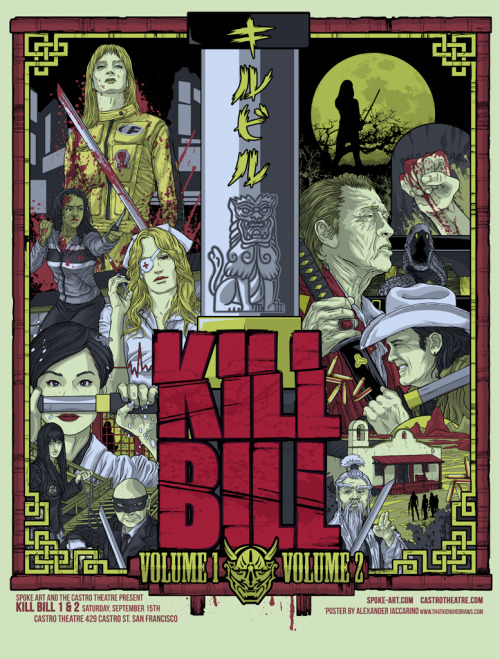 "Here's a look at Alexander Iaccarino's ""Kill Bill Vol. 1 & 2"", a new limited edition fine art print comissioned by the historic Castro Theatre in San Francisco. Limited to only 100 signed and numbered copies, this stunning piece of art is available now via the Spoke Art online store!"