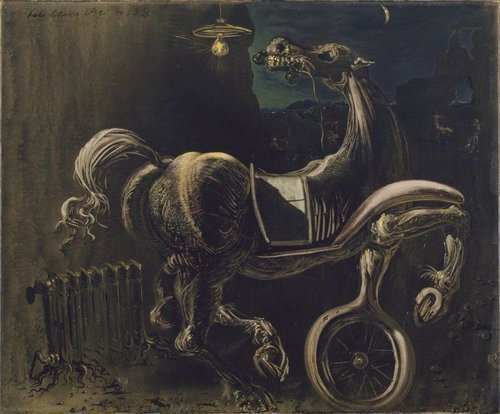 Debris of an Automobile Giving Birth to a Blind Horse Biting a Telephone, 1938, Salvador Dali
