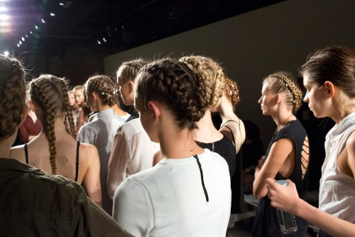 Backstage during fashion week-Braids of honor. Time to visit the braiding spots in Fulton Mall. -  Jun