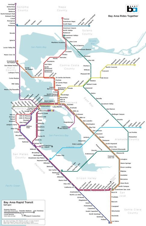 A modern design of the original 1956 route plans for BART.