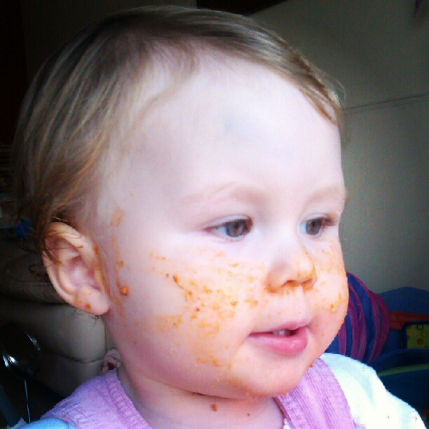Lasagne-geddon . But why would you smear it into your own hair, Sophie? #instababy #cute #sophie #babygram #baby #lasagne (Taken with Instagram at Home Base Alpha)