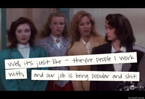 "teachingtoday:  girlwithalessonplan:  imremembering:  14 'Heathers' Quotes We Hope They Include In The Remake [Huffington Post]  We refer to the teenage girls (Mercy, Mary, Abigail, and Susanna) in ""The Crucible"" as ""The Heathers.""    Aw, man. Let's all watch Heathers tonight."