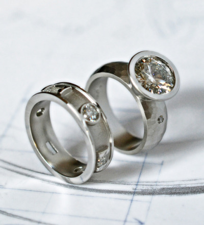 Just off the jeweler's bench…  J ALBRECHT DESIGNS diamond and platinum rings.  Designed and fabricated in our shop in Boulder, Colorado.