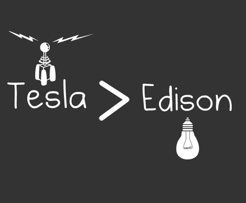 jtotheizzoe:  Tesla > Edison. It's a shirt now and stuff. (via The Oatmeal)