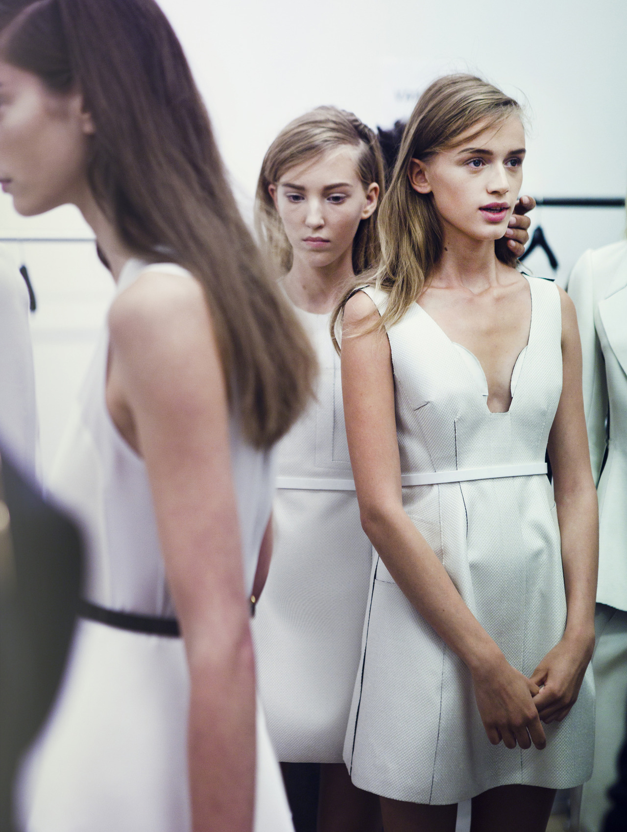 davidurbanke:  Models waiting patiently backstage at Calvin Klein Collection S/S 13