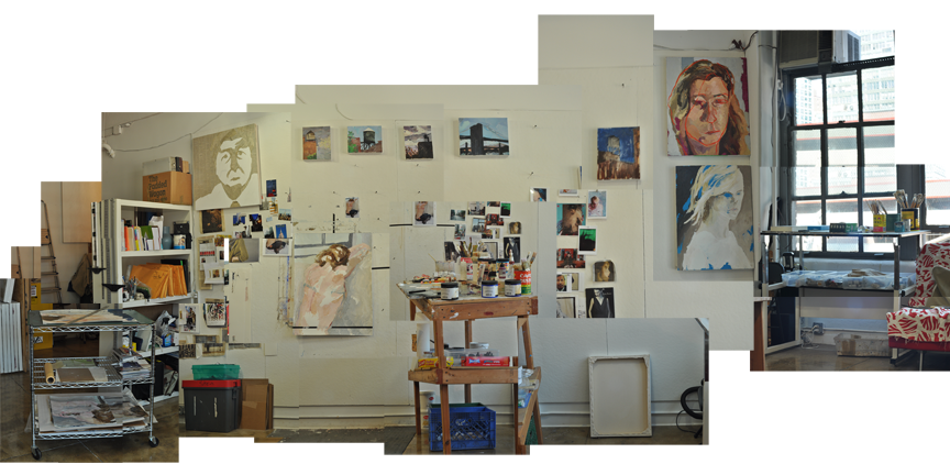photocollage of my studio space on a cool september afternoon